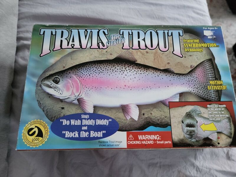 Travis The Singing Trout Gemmy Motion Activated Fish New Open Box 1999 Vtg