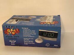 NEW SONIC DUAL ALARM CLOCK W/SUPER BED SHAKER, EXTRA LOUD ALERT SB300ss-v3