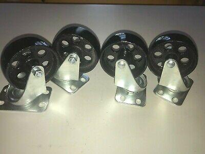 Set Of 4 3.5 Heavy Duty Cast Iron Casters Swivel Metal Industrial Wheel