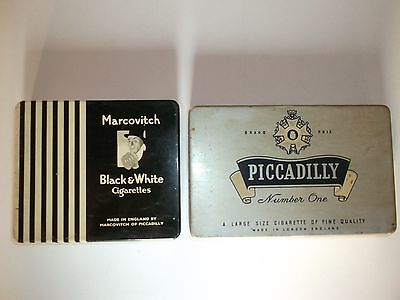 Old vintage Marcovitch black & white and piccadilly cigarettes tin box of 60's