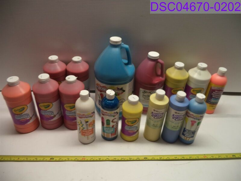 Mix Lot of 16 Paints Tempera, Acrylic, Glitter 1 Gallon to 16 oz Bottles