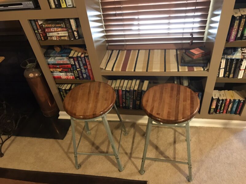 (2) Vintage Industrial / Steampunk Workbench Stools