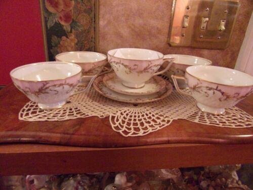 Royal Tettau RARE ELEGANCE ROSE Pink (GOLD TRIM) Lot 7 Cups Saucers BNOS