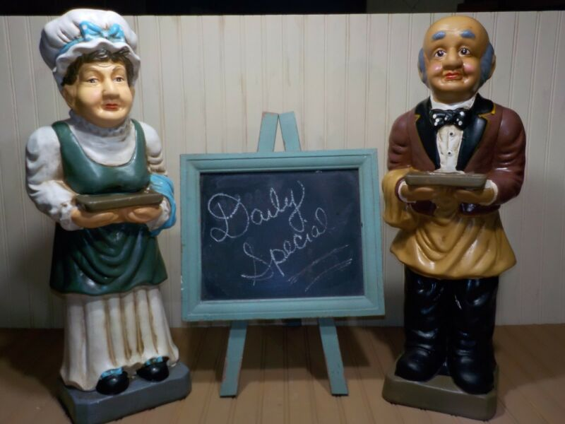 Pair of Vintage 2 Foot Tall Butler Statue & Waitress Statue Restaurant Decor