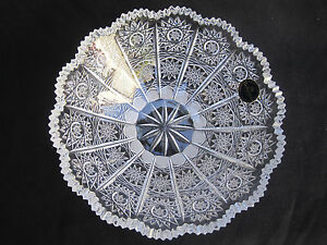 VINTAGE-BOHEMIA-QUEEN-LACE-HAND-CUT-24-LEAD-CRYSTAL-BOWL-7-NIB-MINT