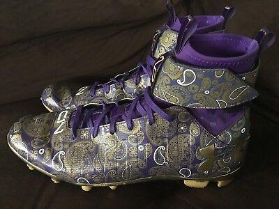 UNDER ARMOUR Cam Newton C1N Football Cleats Purple/Gold Men's Size 9.5
