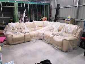 Lounge suite leather cream 7 peice with electric recliners 4 cup Brassall Ipswich City Preview