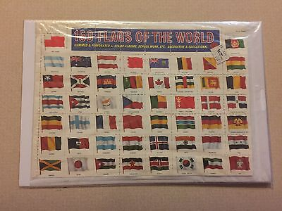 Vintage 1965 150 Flags of the World stamp sheet set