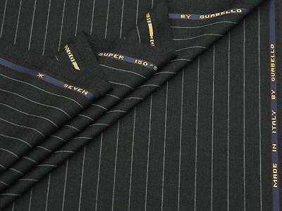 Wolle Nadelstreifen Passend (Guabello 'Sieben' Super 150S Wolle Dunkelgrau Passend Stoff 1.95M - Made in)