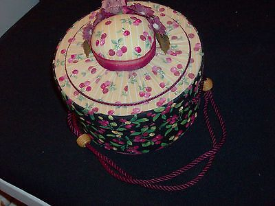 VINTAGE Hat Shape Red Pink Cherries & Flowers Box for Jewelry, Soap or Perfumes