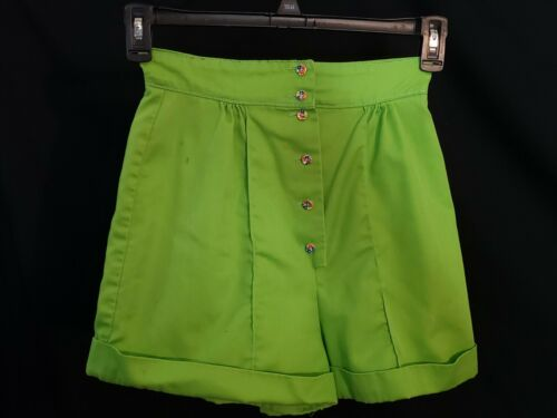 Lime Green Shorts High Waisted Mrs Topper Button Up Vintage 70s