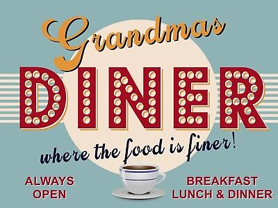 Personalised Kitchen Diner Plaque, Metal Sign, Retro Vintage Art, Any Name