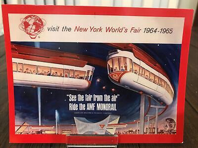 """POSTCARD 1964-65 NEW YORK WORLD'S FAIR AMF MONORAIL """"SEE THE FAIR FROM THE AIR"""""""