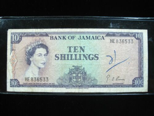 JAMAICA 10 SHILLINGS 1960 BRITISH PEN 33# CURRENCY BANKNOTE PAPER MONEY