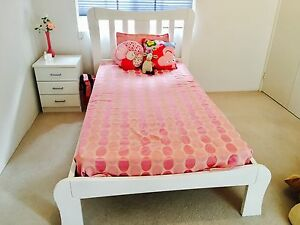King single Harvey Norman bed with mattress and one bedside Applecross Melville Area Preview