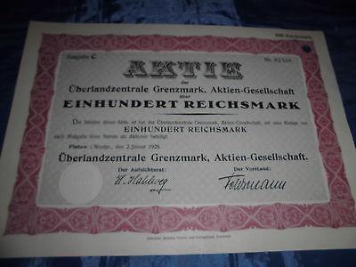 1261 : AKTIE , Westpreußen , 2. Januar 1928 , Überland Zentrale Grenzmark , 9803