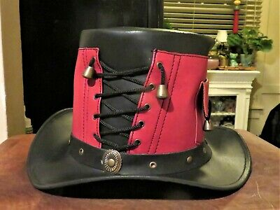 Creekside Leather Top Hat Red Black Steam Punk Costume Mens Gothic