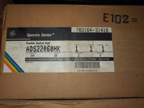 Ge Ads22060hk 60a 240v 1ph 2p Fusible Switch Expansion Kit New Surplus