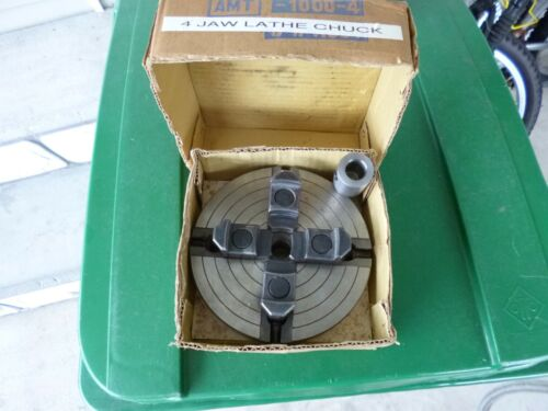 """AMT 1000-4 - 4 Jaw 6"""" Diameter Lathe Chuck INCLUDES 5/8"""" Spindle in BOX"""