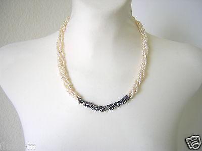 5 Reihige Perlenkette Kette Perle Creme & Anthrazit 35,9 g