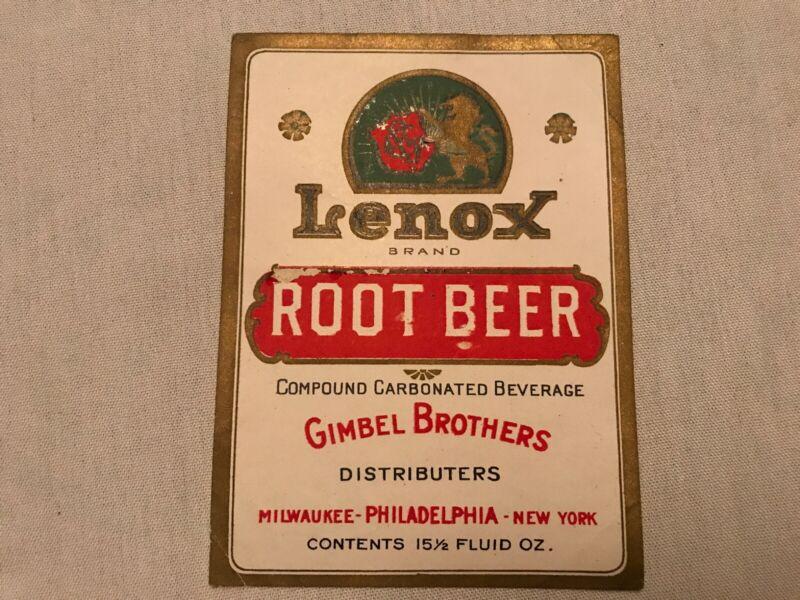 Gimbel Brothers, Lenox Root Beer Vintage Soda Bottle Label