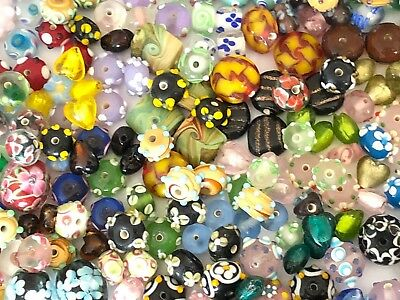 (NEW 1/4 Pound Mixed Colors Assorted Lampwork Glass Beads WHOLESALE Bulk Lot)