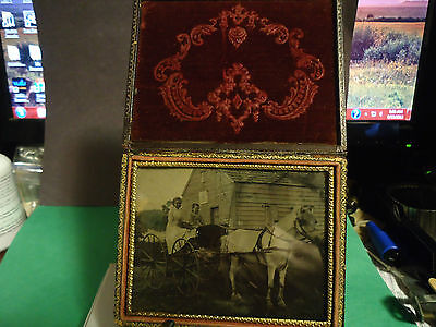 1/4 Tintype of 2 Girls in Buggy with White Horse in Front of Barn with Sign Case