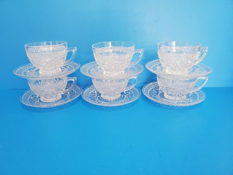 Set of 6 Imperial Glass Cape Cod Cups & Saucers 160/35