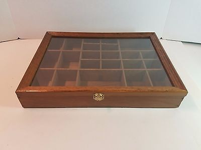 Vtg Wood Glass Display Case Wall Hanging Curio Trinket Miniature Cabinet Shelf