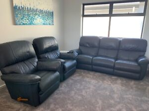 Lazy boy navy 3 seater sofa and 2 x recliners   Sofas ...