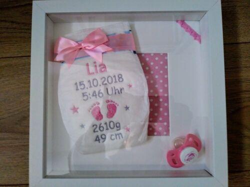 3D Windelbild im Rahmen Windel Geburtsdaten Name Baby