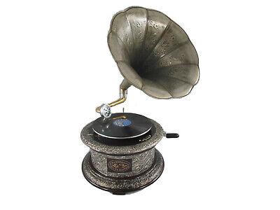Gramophone Gravuur Vern Wood round Mechanical Musical Instruments Technik &