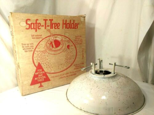 Vtg Safe-T-Tree Xmas Tree Stand White Sparkle Box Natural Artificial Aluminum