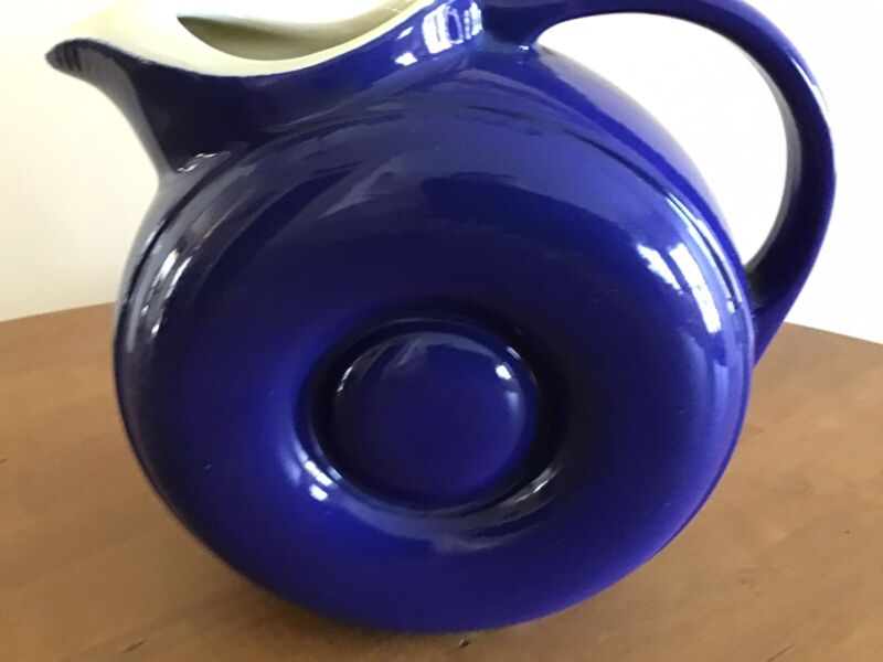 Hall China Pottery Donut Pitcher With Ice Lip VINTAGE Cobalt Blue