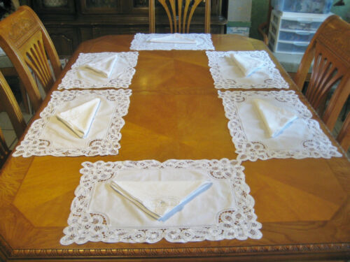 White Battenburg handmade tape lace Imperial Elegance set 6 placemats 6 Napkins