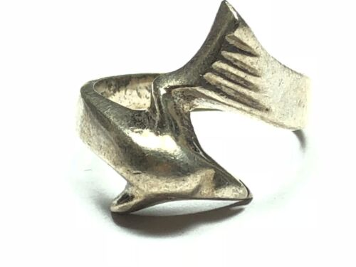 Vintage Ladies SOLID Sterling Silver Dolphin Ring - MEXICO TAXCO - Size 8.25