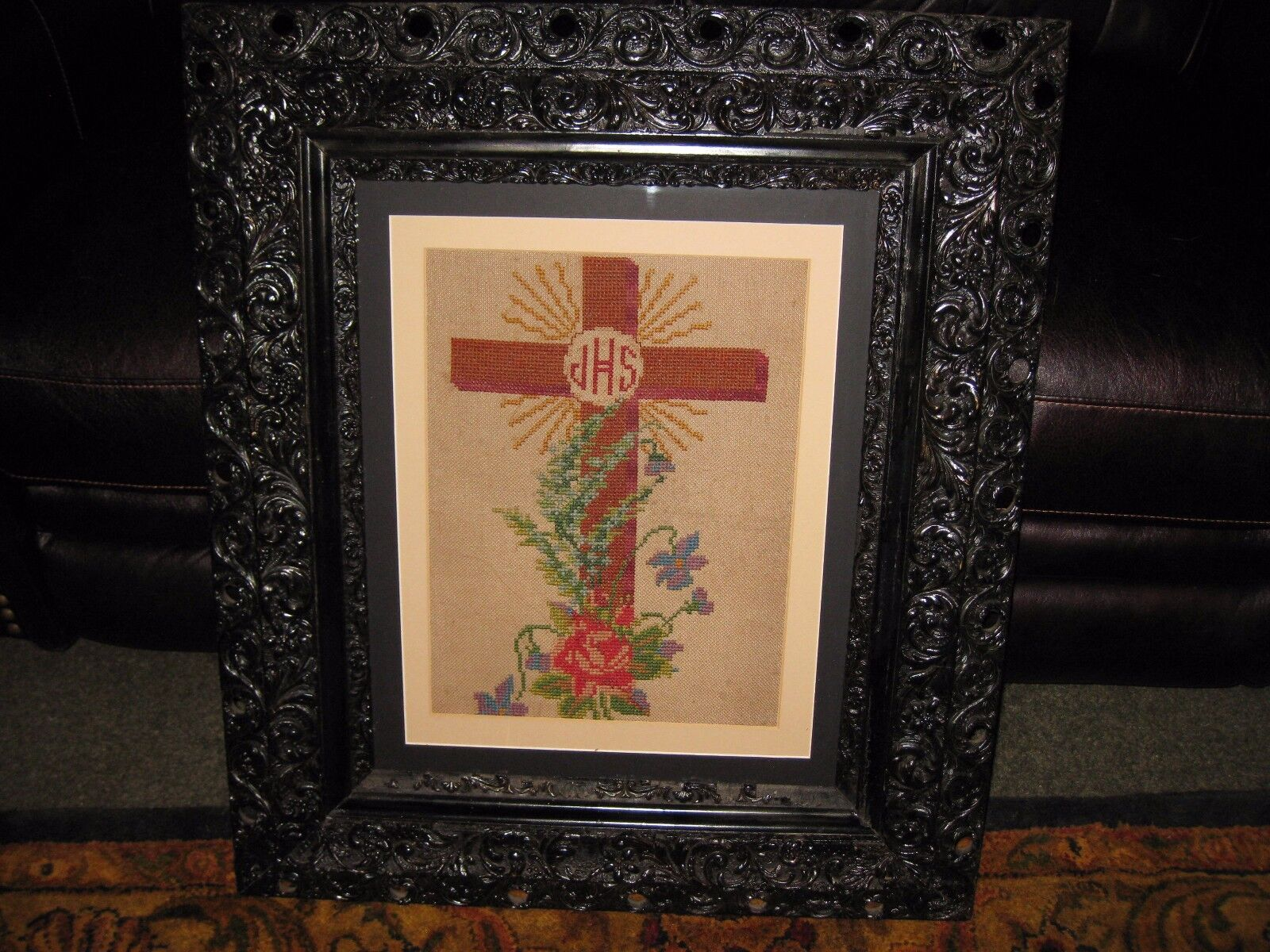 Antique Needlepoint IHS Cross In Wood Gesso 3 Tiered Rococo Frame 26 ...
