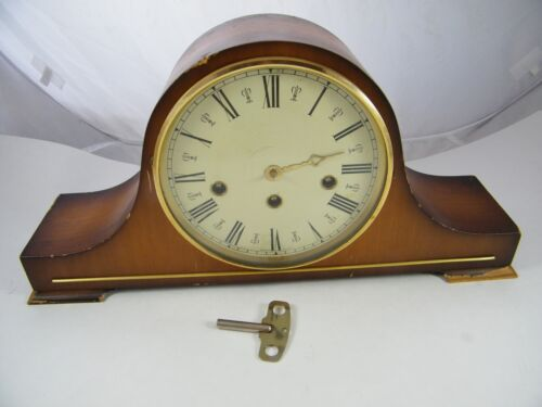 VINTAGE ~ W HAID ~ MANTEL CLOCK 340-020 2 JEWEL WEST GERMANY HAS KEY NEEDS WORK