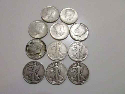 $5.50 Face 11 total 90% Silver Half Dollars Kennedy and Standing Liberty