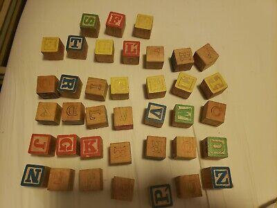 38 Vintage Wooden Children's Building Blocks Alphabet Numbers Crafts n Games