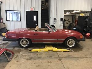 Mercedes 380sl convertible red with tan interior