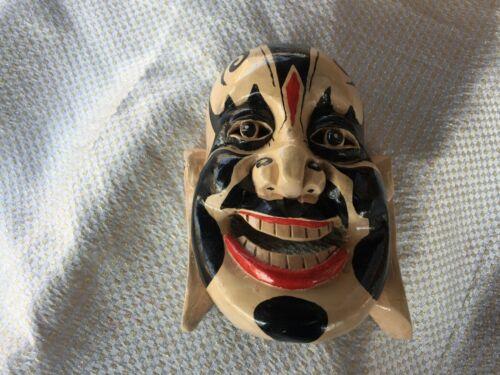 Vintage Chinese Asian Buddha Theme Hand Carved Hand Painted Wooden Mask