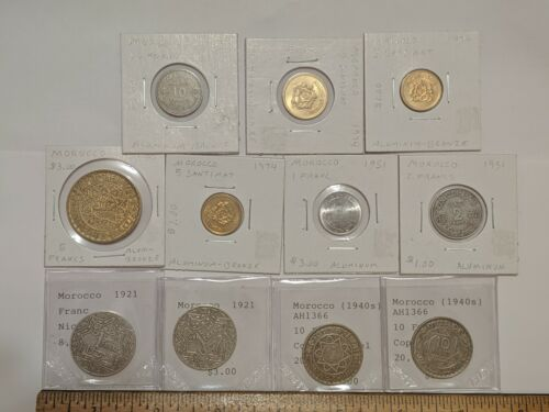 11 LOT MOROCCO COINS WORLD FOREIGN ESTATE