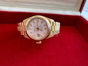 ROLEX LADIES 26MM DATEJUST PRESIDENT WATCH, DIAL,18K