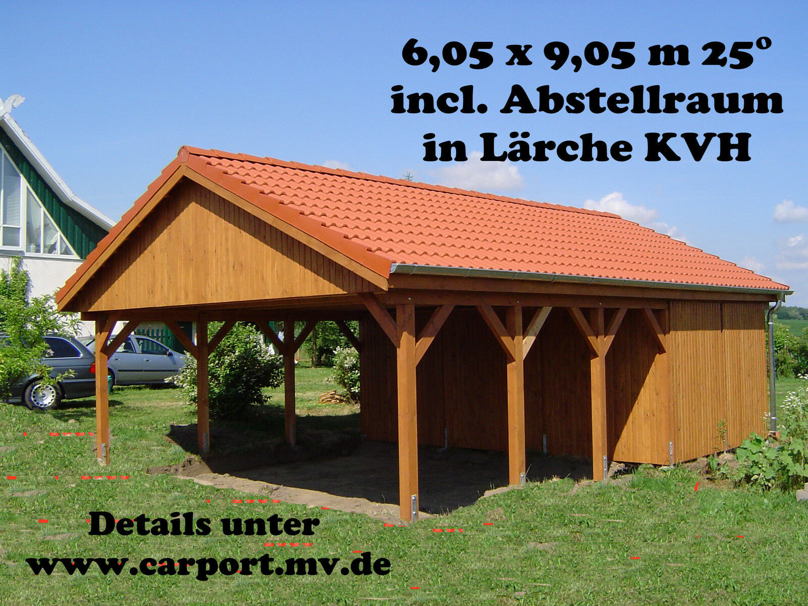 carport 6 00 x 9 00 m satteldach 25 l rche kvh doppelcarport einzelcarport top eur. Black Bedroom Furniture Sets. Home Design Ideas