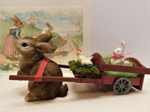 """Sweet """" Brown bunny"""" pulling a handmade cart w/ little rabbit~Jean Littlejohn"""