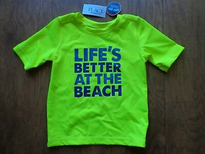 CHILDREN'S PLACE boy's NWT sz 2T yellow rash guard LIFE'S BETTER... swim shirt