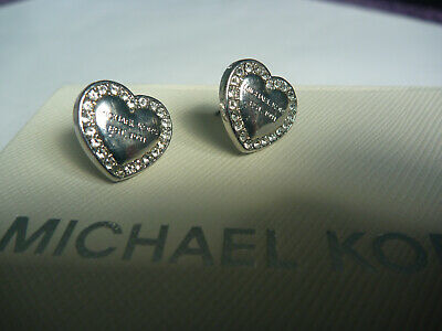 Michael Kors earrings silver plate, heart shaped with Pave stones