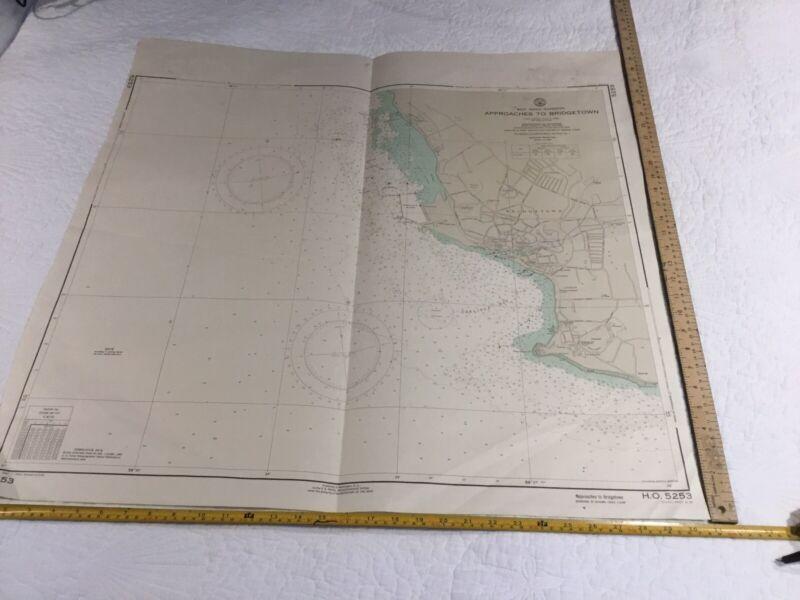 Vintage Nautical chart #5253 Barbados Approaches To Bridgetown 3rd Ed,1964