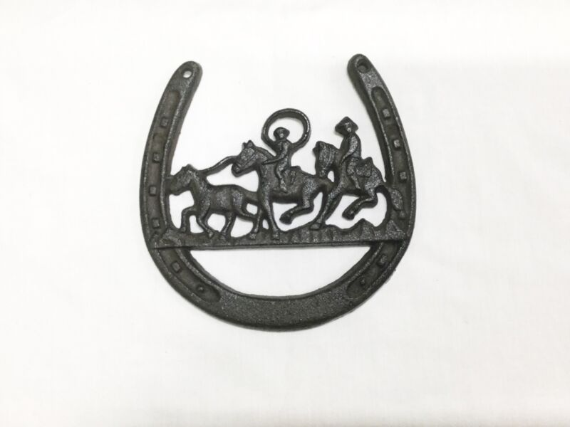 FREE SHIPPING~Rustic Cast Iron Horseshoe Ropers Plaque (1184-1014)